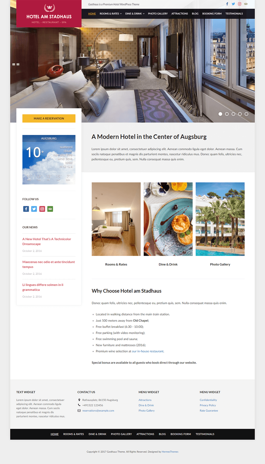 Gasthaus WordPress Theme Screenshot